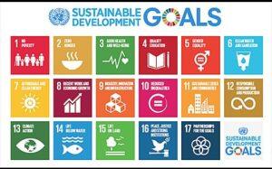 sehr bunte Grafik zu den 17 Nachhaltigkeitszielen der Vereinten Nationen